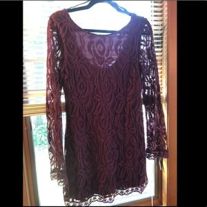 Plum lace bodycon dress by Fire Los Angeles